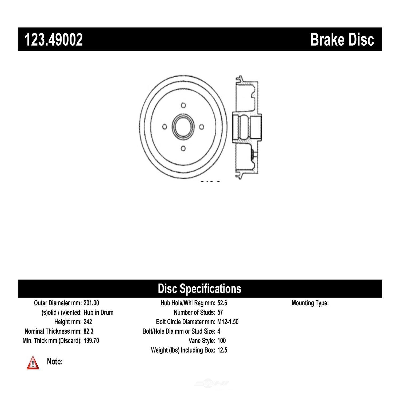 C-TEK BY CENTRIC - C-TEK Standard Brake Drum-Preferred - CTK 123.49002