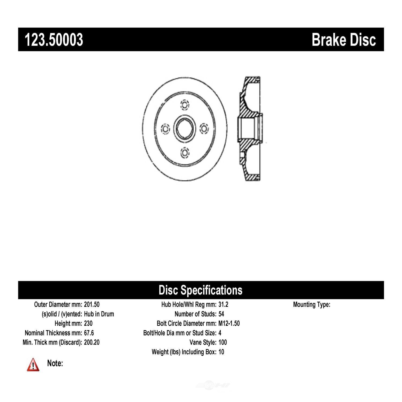 C-TEK BY CENTRIC - C-TEK Standard Brake Drum-Preferred (Rear) - CTK 123.50003