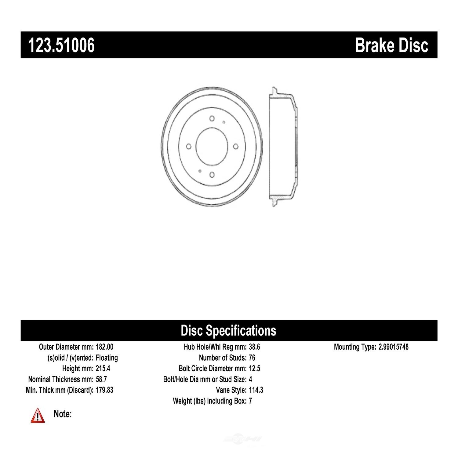C-TEK BY CENTRIC - C-TEK Standard Brake Drum-Preferred (Rear) - CTK 123.51006