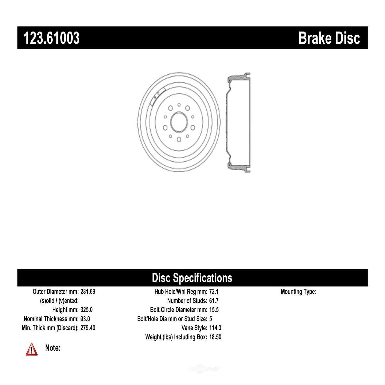 C-TEK BY CENTRIC - C-TEK Standard Brake Drum - CTK 123.61003