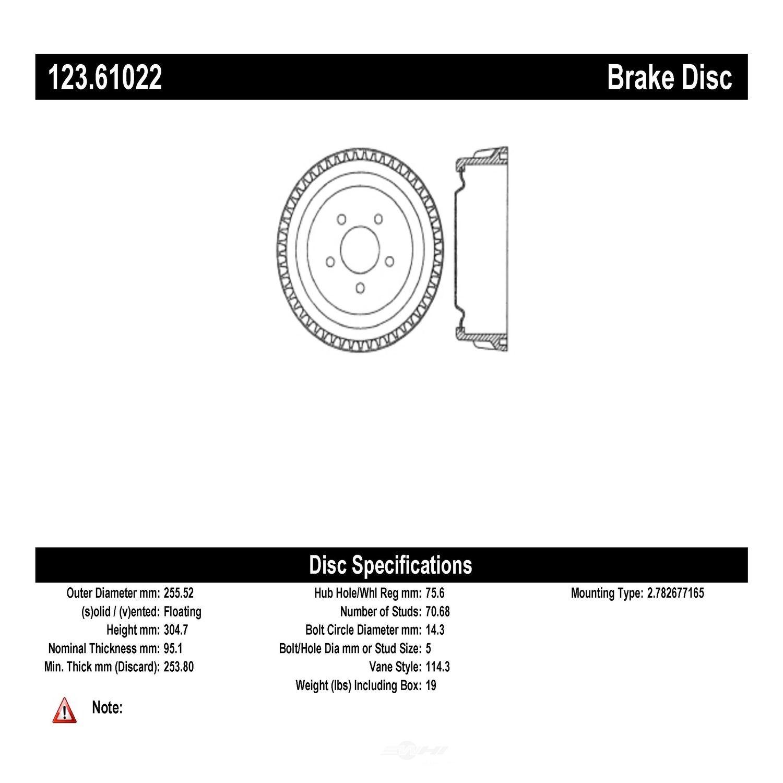 C-TEK BY CENTRIC - C-TEK Standard Brake Drum-Preferred - CTK 123.61022