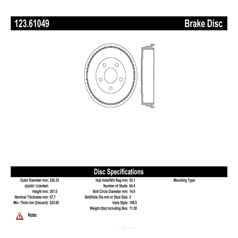 C-TEK BY CENTRIC - C-TEK Standard Brake Drum (Rear) - CTK 123.61049