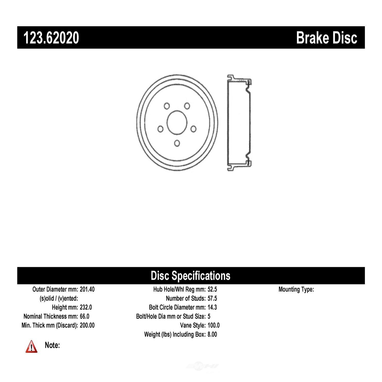 C-TEK BY CENTRIC - C-TEK Standard Brake Drum - CTK 123.62020