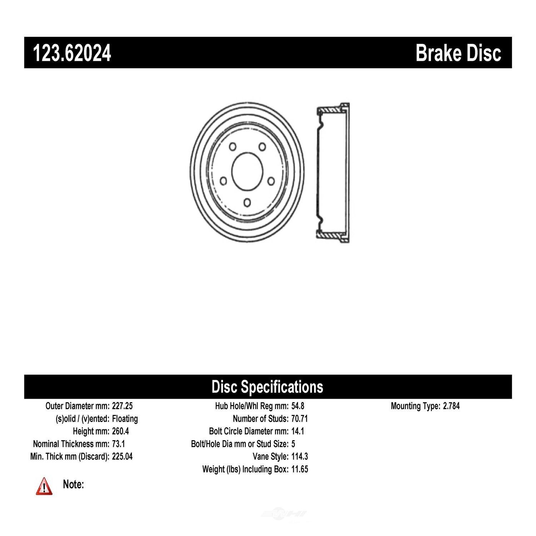 C-TEK BY CENTRIC - C-TEK Standard Brake Drum-Preferred (Rear) - CTK 123.62024