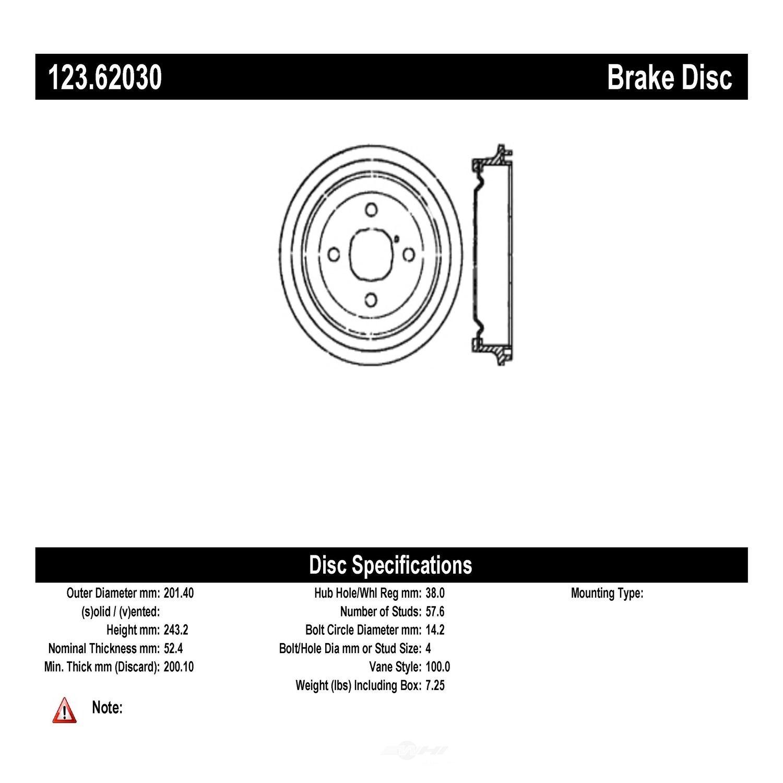 C-TEK BY CENTRIC - C-TEK Standard Brake Drum - CTK 123.62030