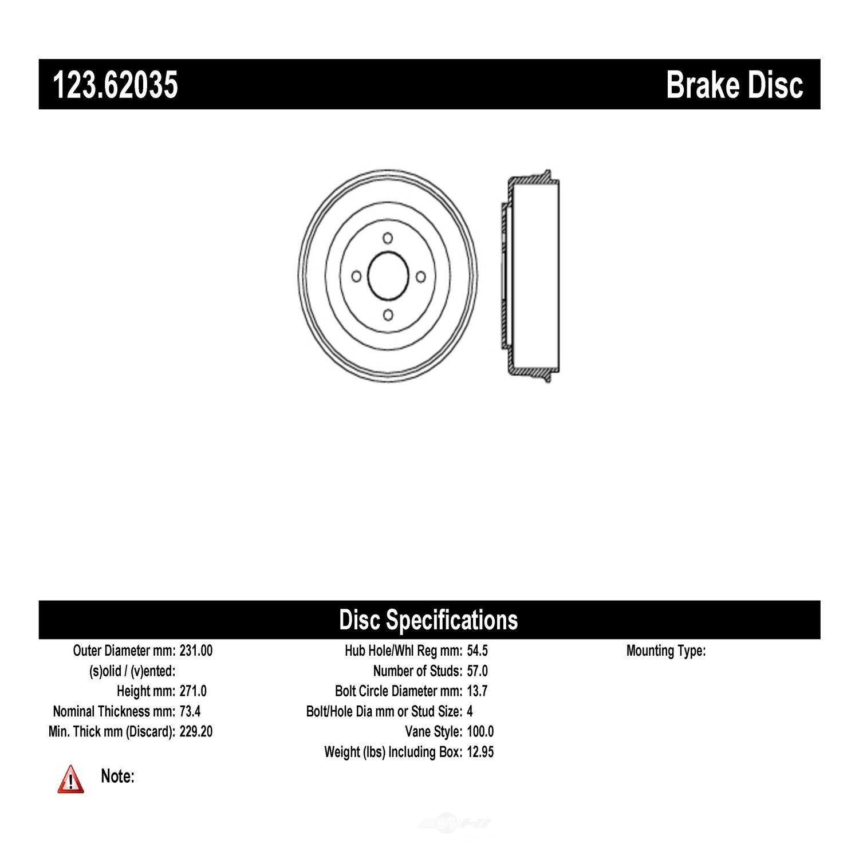 C-TEK BY CENTRIC - C-TEK Standard Brake Drum - CTK 123.62035