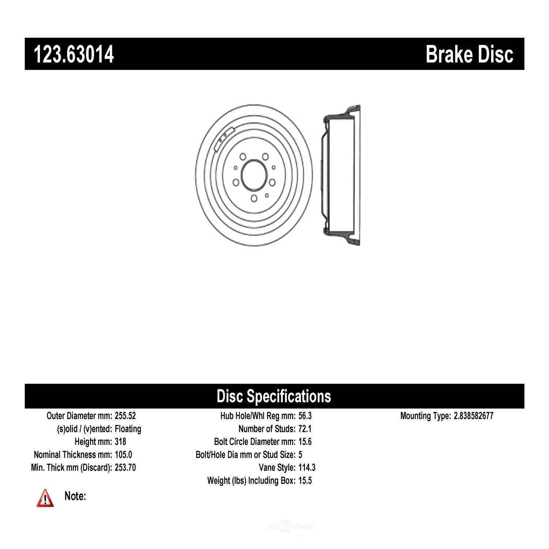 C-TEK BY CENTRIC - C-TEK Standard Brake Drum-Preferred - CTK 123.63014