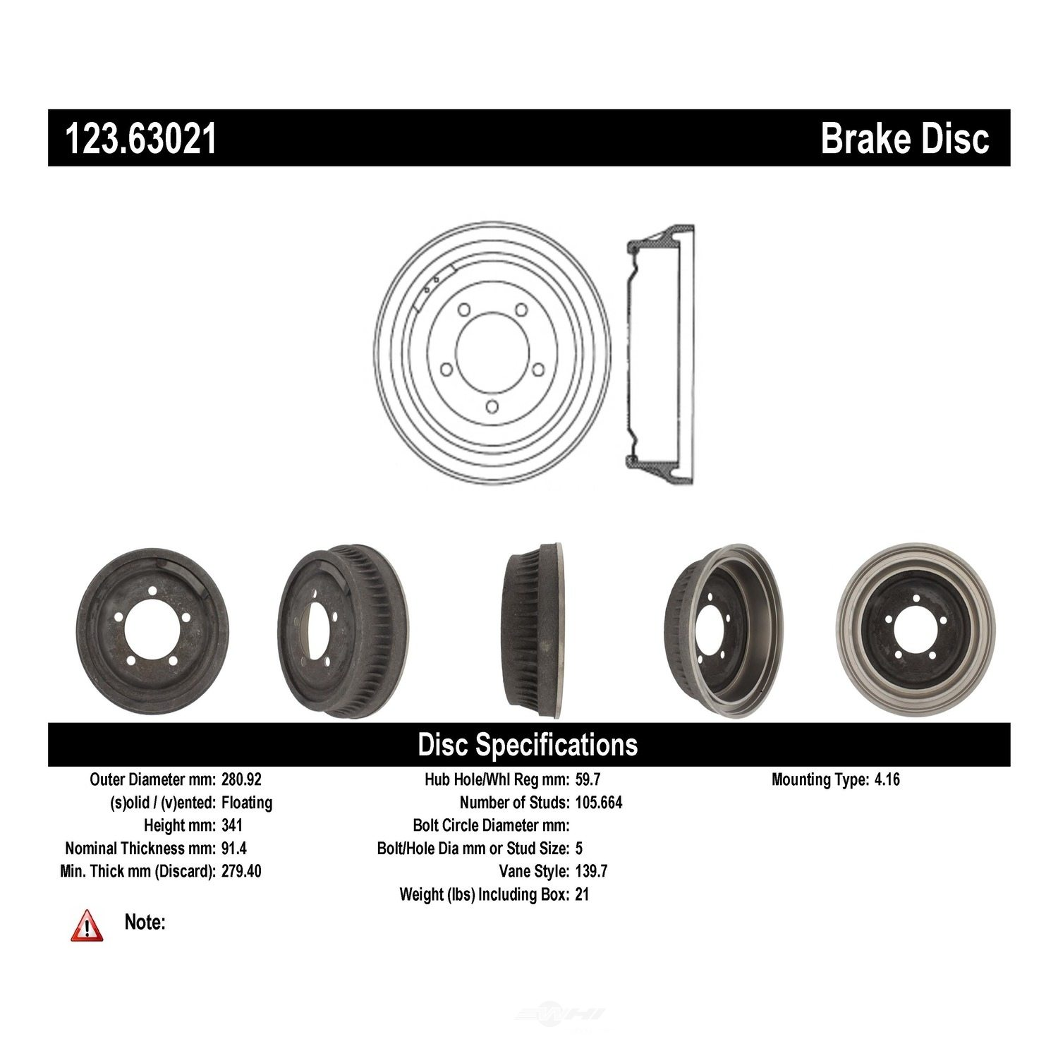 C-TEK BY CENTRIC - C-TEK Standard Brake Drum-Preferred - CTK 123.63021