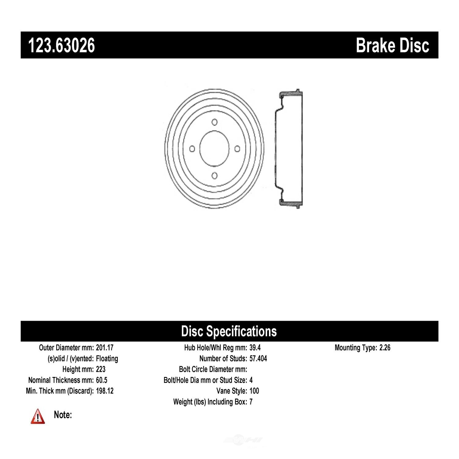 C-TEK BY CENTRIC - C-TEK Standard Brake Drum-Preferred - CTK 123.63026