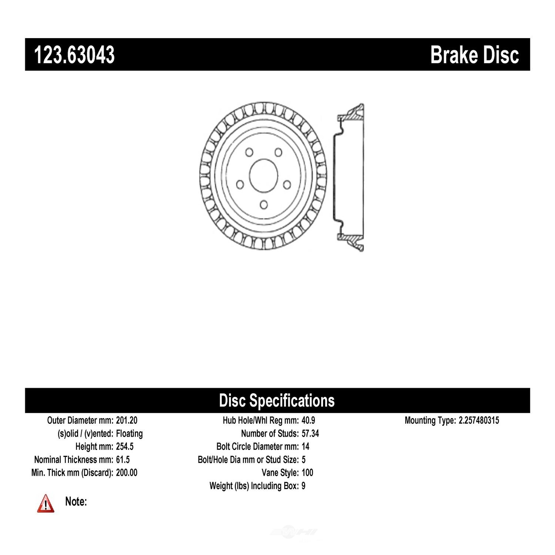 C-TEK BY CENTRIC - C-TEK Standard Brake Drum-Preferred - CTK 123.63043