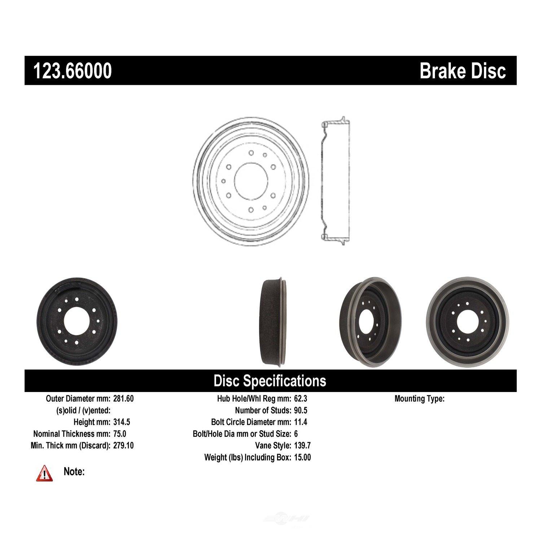 C-TEK BY CENTRIC - C-TEK Standard Brake Drum - CTK 123.66000