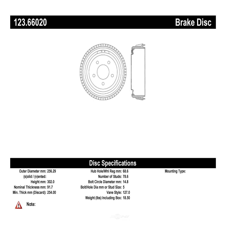 C-TEK BY CENTRIC - C-TEK Standard Brake Drum - CTK 123.66020
