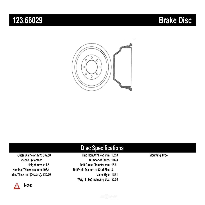 C-TEK BY CENTRIC - C-TEK Standard Brake Drum - CTK 123.66029