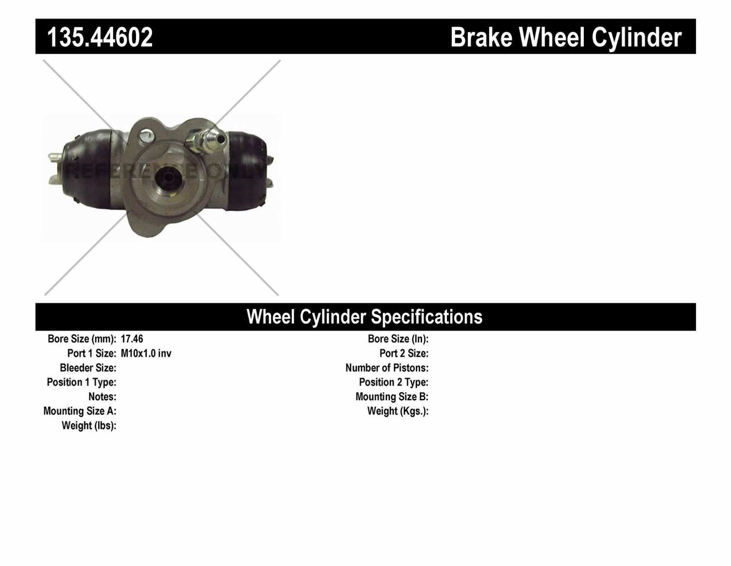 C-TEK BY CENTRIC - C-TEK Standard Wheel Cylinder (Rear Right) - CTK 135.44602