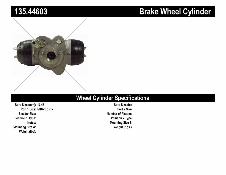 C-TEK BY CENTRIC - C-TEK Standard Wheel Cylinder (Rear Left) - CTK 135.44603