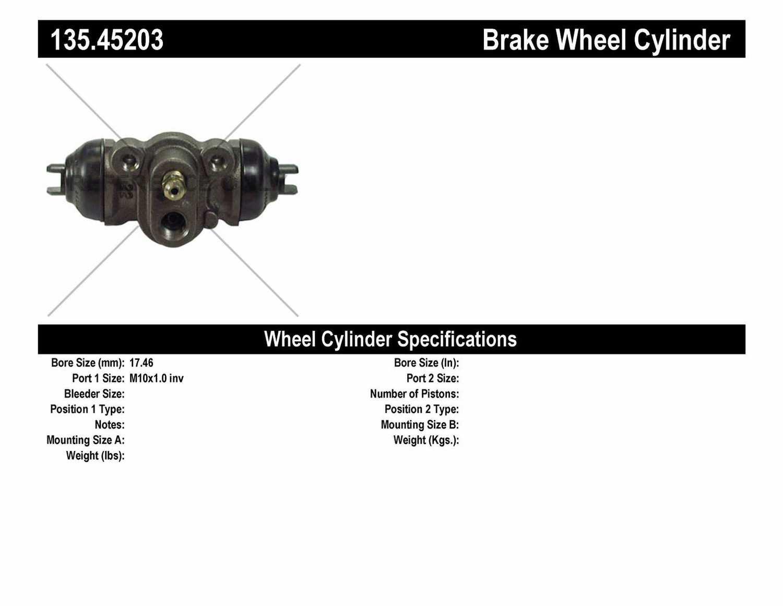 C-TEK BY CENTRIC - C-TEK Standard Wheel Cylinder (Rear) - CTK 135.45203
