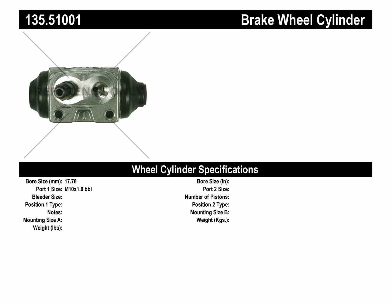 C-TEK BY CENTRIC - C-TEK Standard Wheel Cylinder (Rear) - CTK 135.51001