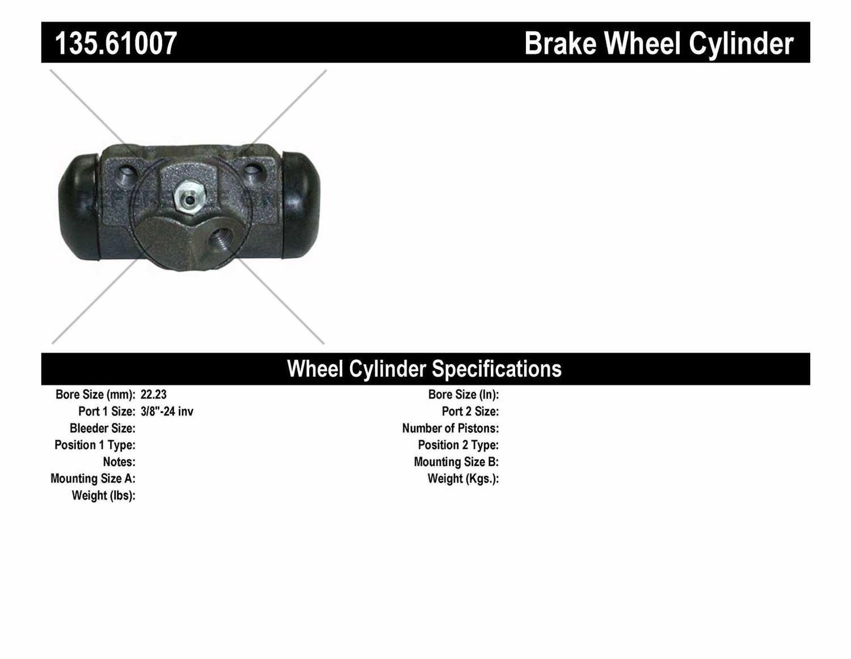 C-TEK BY CENTRIC - C-TEK Standard Wheel Cylinder (Rear Right) - CTK 135.61007