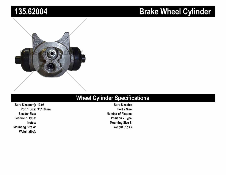 C-TEK BY CENTRIC - C-TEK Standard Wheel Cylinder (Rear) - CTK 135.62004