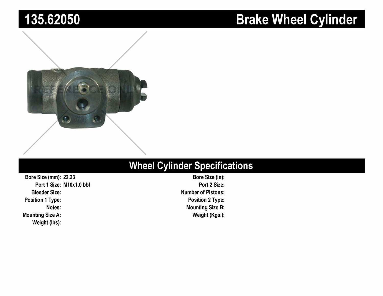 C-TEK BY CENTRIC - C-TEK Standard Wheel Cylinder (Rear) - CTK 135.62050
