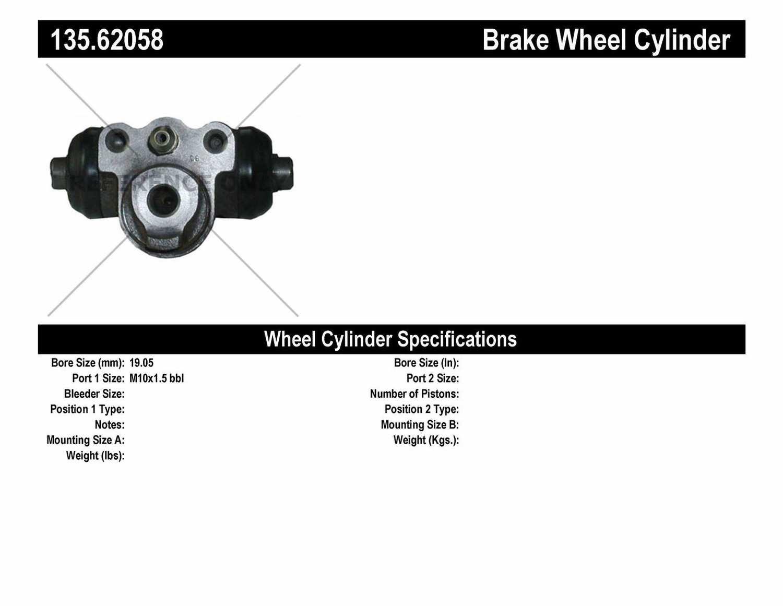 C-TEK BY CENTRIC - C-TEK Standard Wheel Cylinder (Rear) - CTK 135.62058
