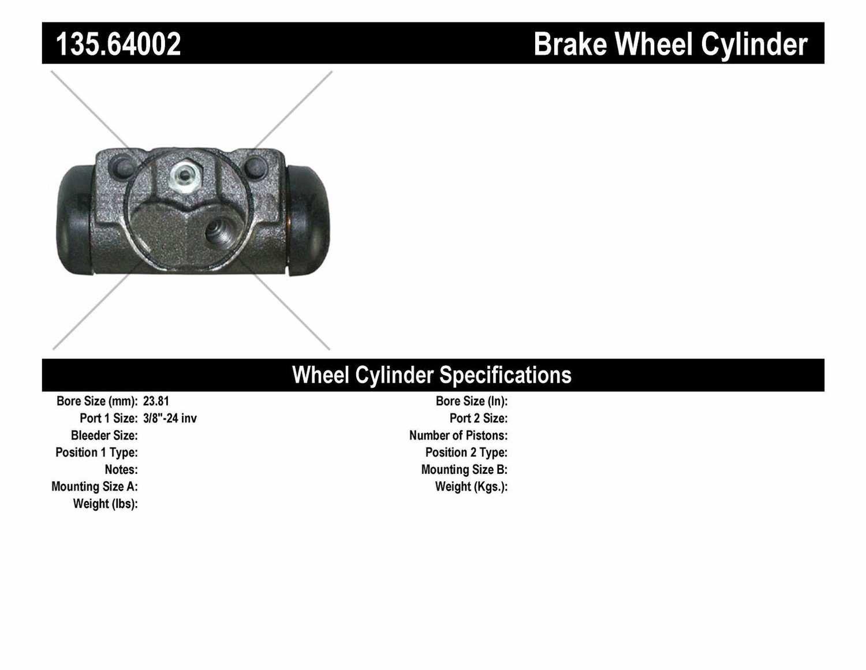 C-TEK BY CENTRIC - C-TEK Standard Wheel Cylinder (Rear Right) - CTK 135.64002