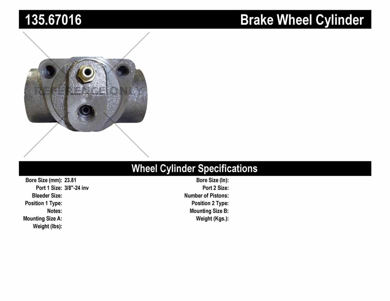 C-TEK BY CENTRIC - C-TEK Standard Wheel Cylinder (Rear) - CTK 135.67016