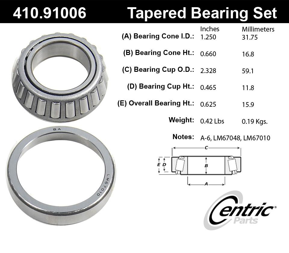 C-TEK BY CENTRIC - C-TEK Standard Wheel Bearing & Race Set (Front Inner) - CTK 410.91006E