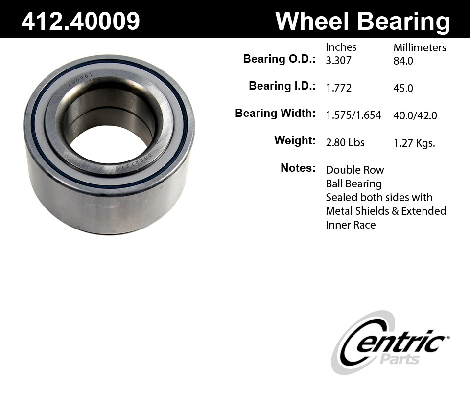 C-TEK BY CENTRIC - Standard Axle Shaft Bearing - CTK 412.40009E