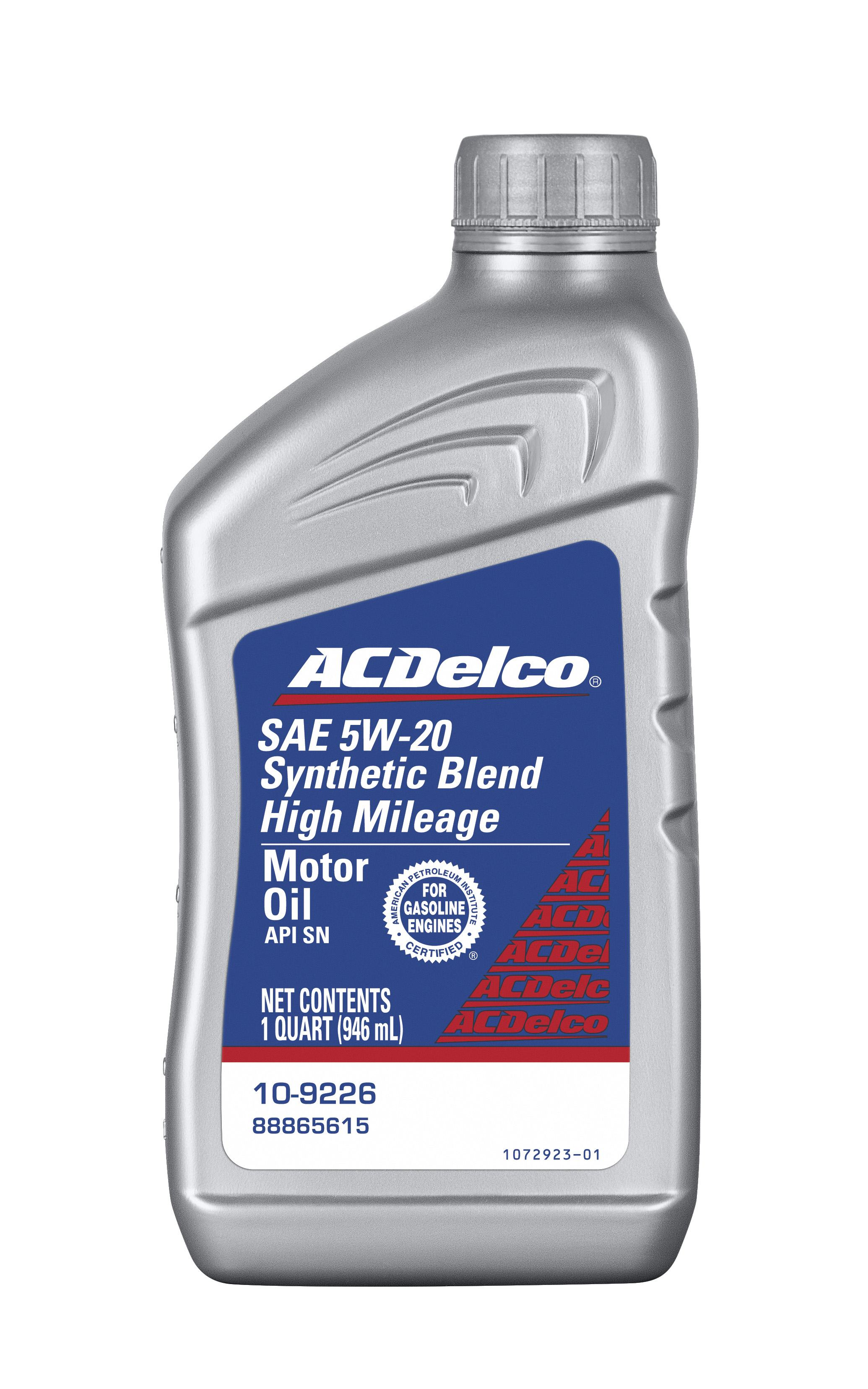 ACDELCO PROFESSIONAL - High Mileage 5W-20 Synthetic Blend Motor Oil - 1 Quart - DCC 10-9226