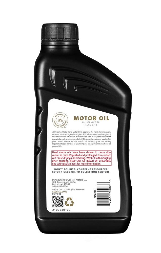 ACDELCO GOLD/PROFESSIONAL - Engine Oil - 1 Quart - DCC 10-9286