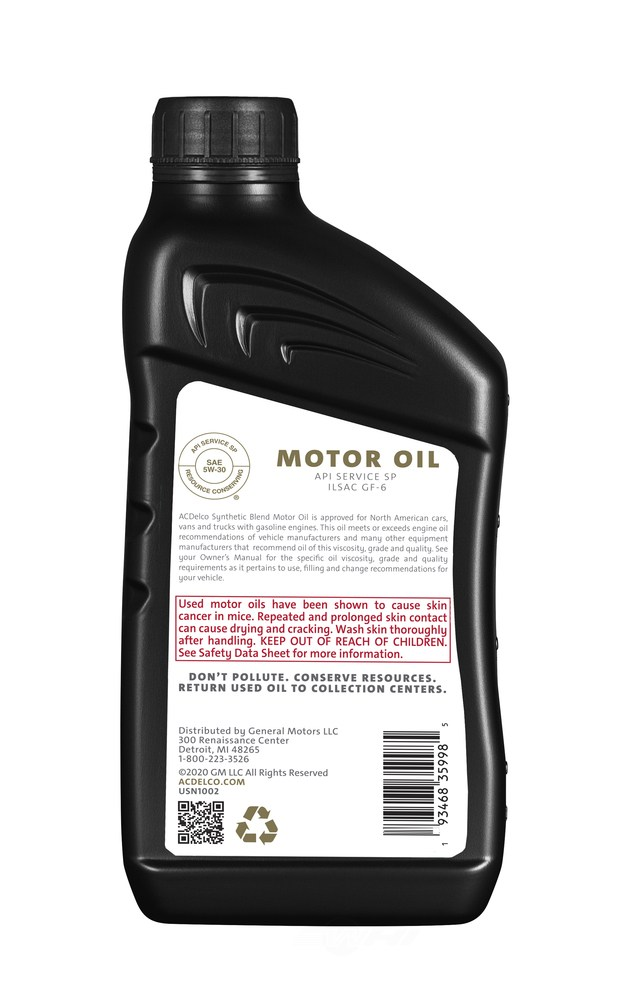 ACDELCO GOLD/PROFESSIONAL - Engine Oil - 1 Quart - DCC 10-9289