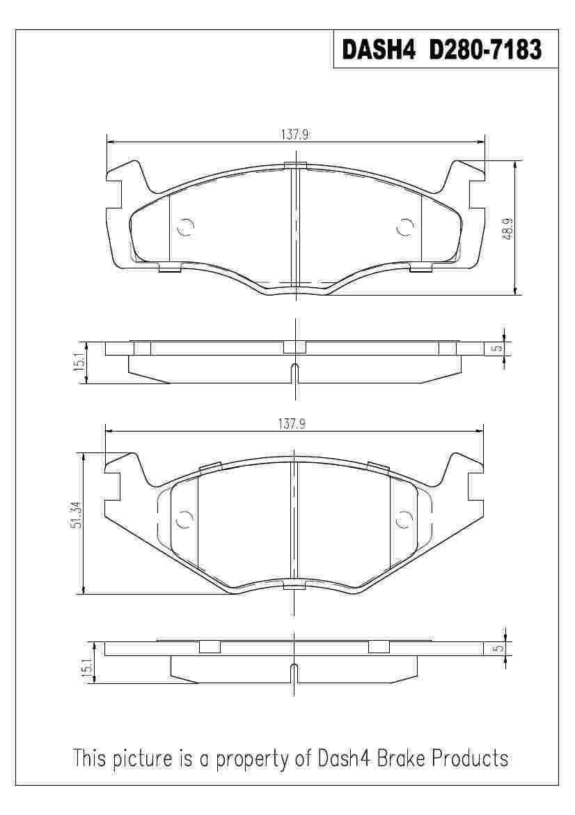 DASH 4 BRAKES - Semi Metallic Pads - DFB MD280