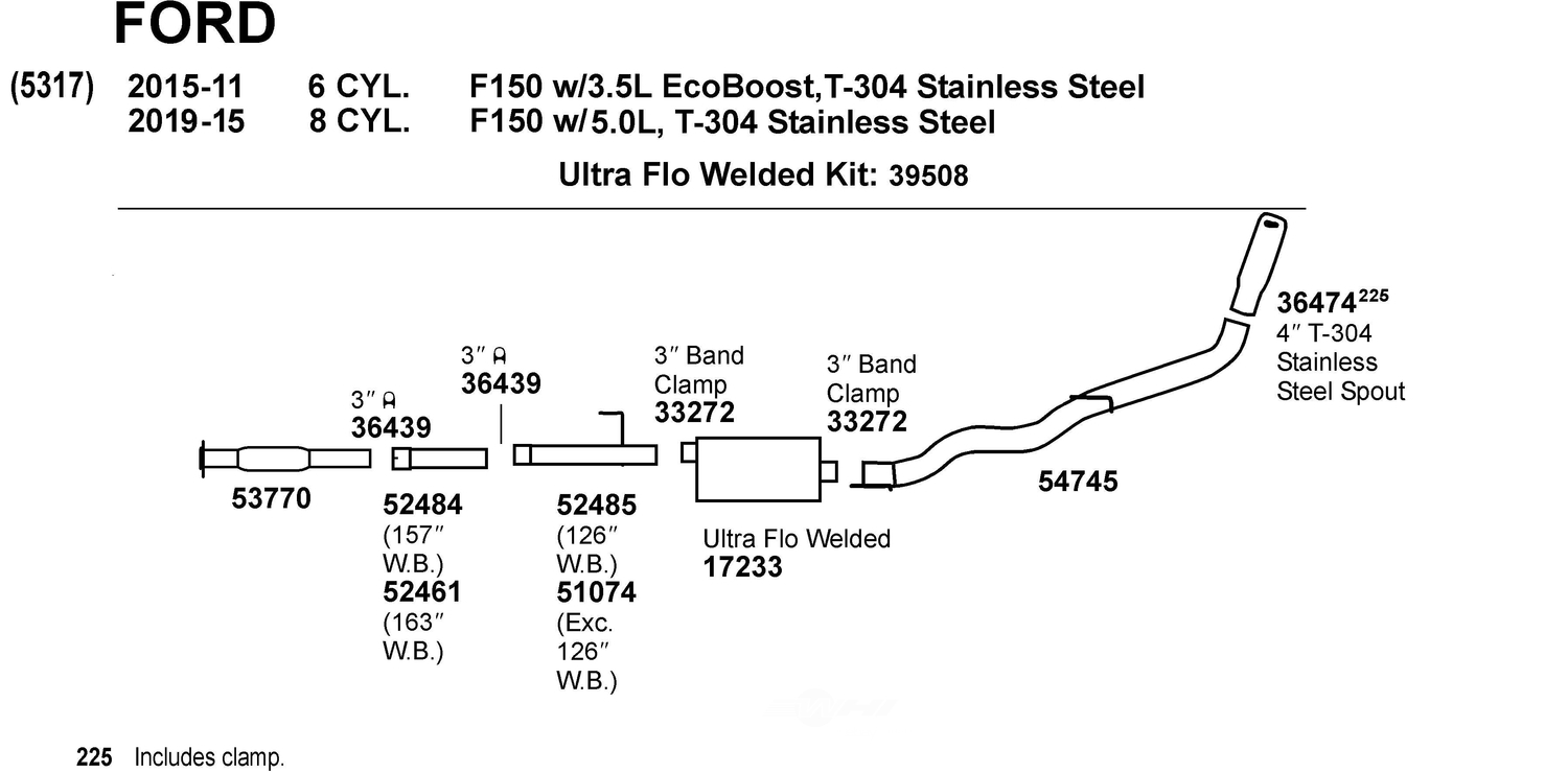 Exhaust And Clutch Parts Listing For Ford 2003 Windstar System Dynomax Intermediate Pipe Dmx 51074