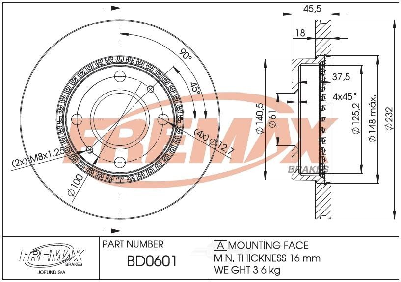 FREMAX BRAKE ROTORS & DRUMS - Brake Rotor Vented (Front) - FRX BD0601