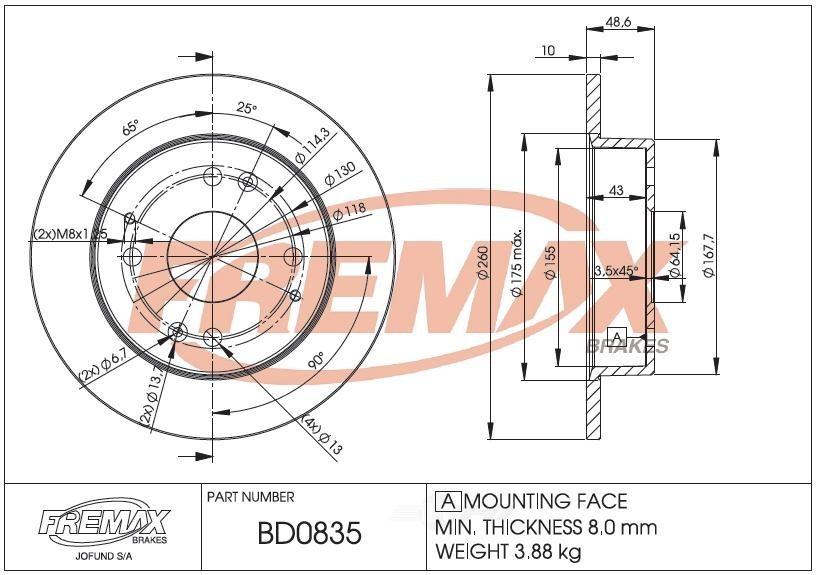 FREMAX BRAKE ROTORS & DRUMS - Brake Rotor Solid (Rear) - FRX BD0835