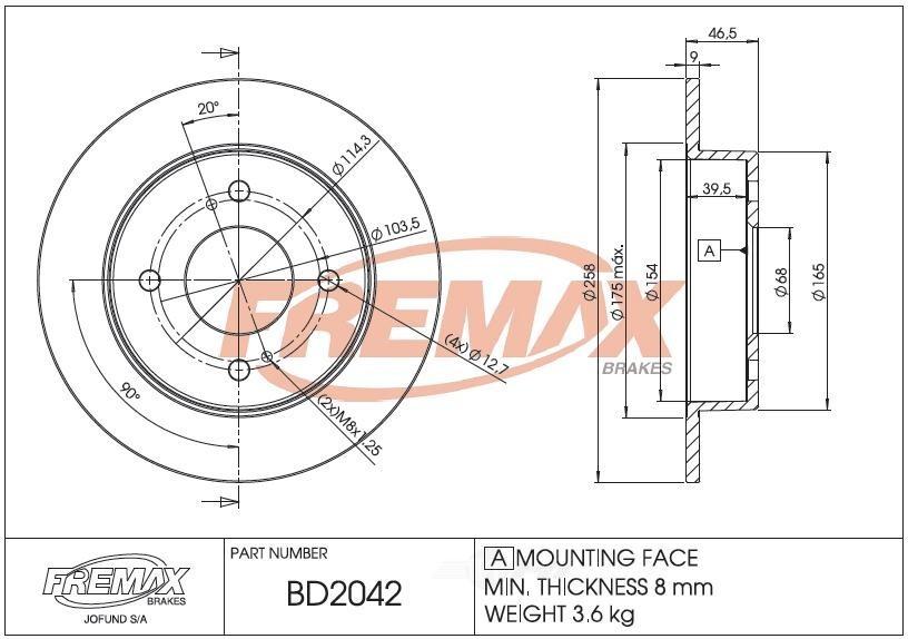 FREMAX BRAKE ROTORS & DRUMS - Brake Rotor Solid (Rear) - FRX BD2042