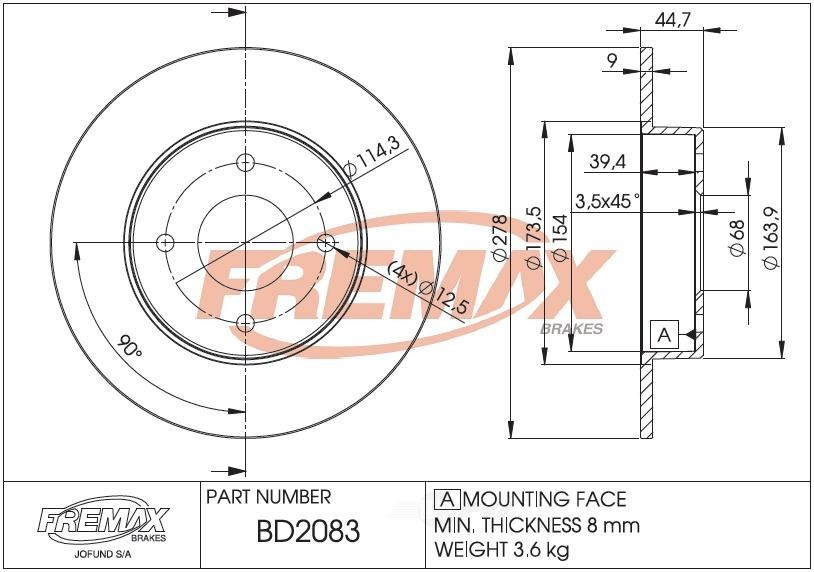 FREMAX BRAKE ROTORS & DRUMS - Brake Rotor Solid (Rear) - FRX BD2083