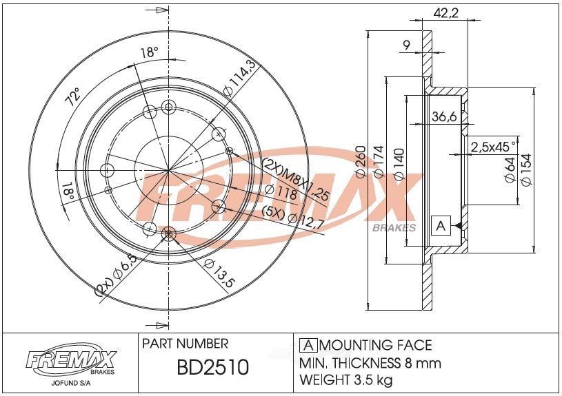 FREMAX BRAKE ROTORS & DRUMS - Brake Rotor Solid (Rear) - FRX BD2510