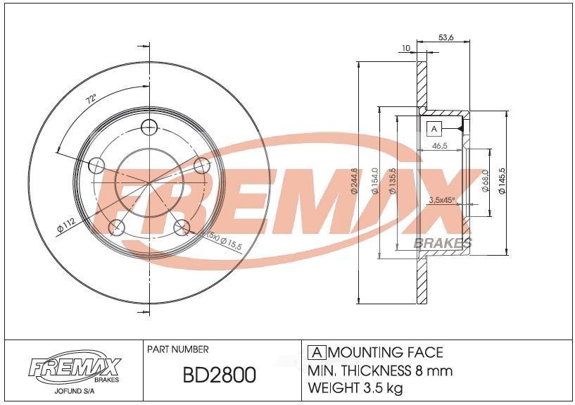 FREMAX BRAKE ROTORS & DRUMS - Brake Rotor Solid (Rear) - FRX BD2800