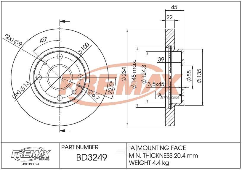 FREMAX BRAKE ROTORS & DRUMS - Brake Rotor Vented (Front) - FRX BD3249