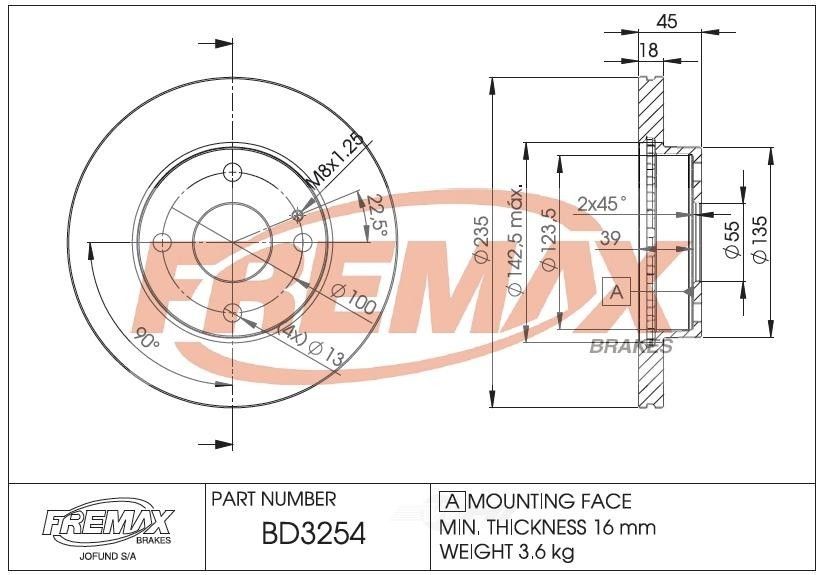 FREMAX BRAKE ROTORS & DRUMS - Brake Rotor Vented (Front) - FRX BD3254