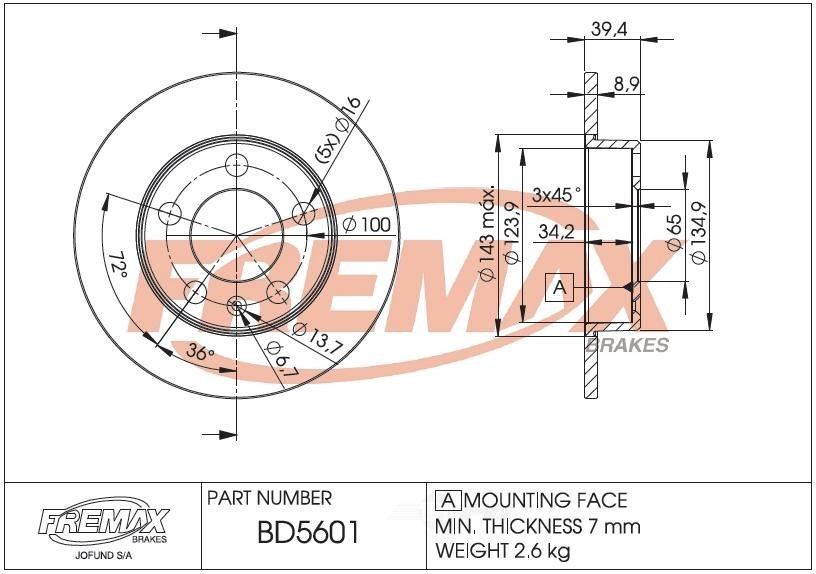 FREMAX BRAKE ROTORS & DRUMS - Brake Rotor Solid (Rear) - FRX BD5601