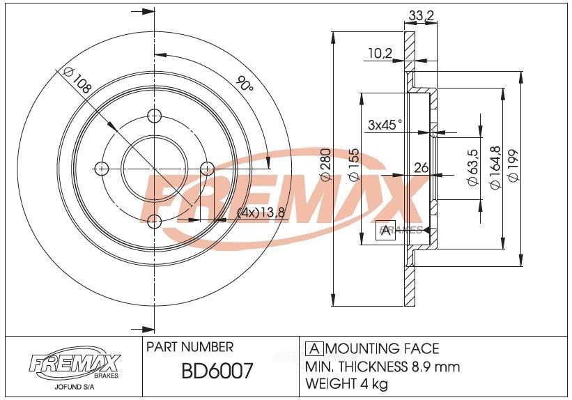 FREMAX BRAKE ROTORS & DRUMS - Brake Rotor Solid (Rear) - FRX BD6007