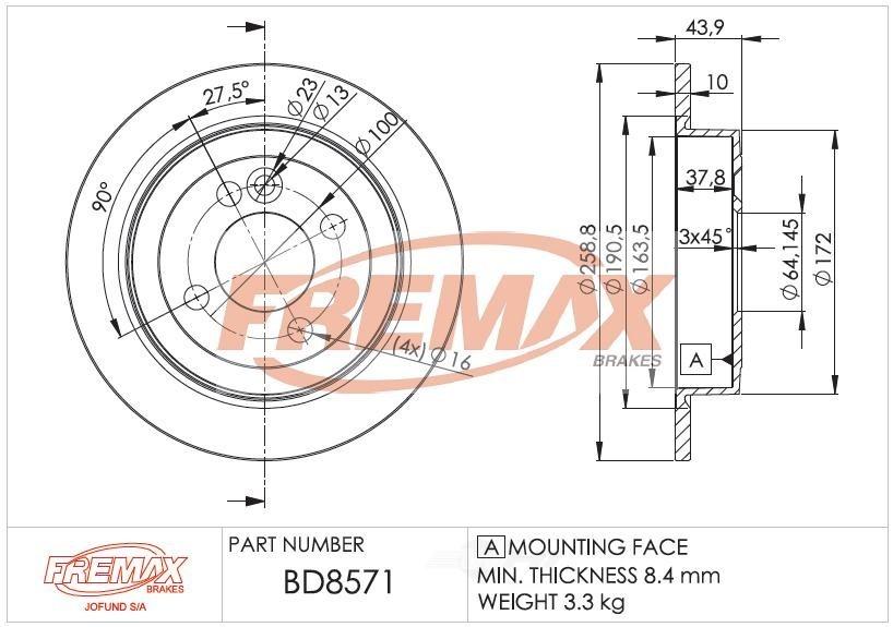 FREMAX BRAKE ROTORS & DRUMS - Brake Rotor Solid (Rear) - FRX BD8571
