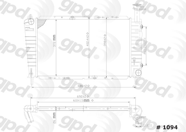 GLOBAL PARTS - Radiator - GBP 1094C