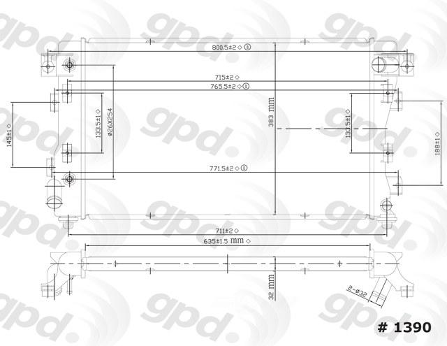 GLOBAL PARTS - Radiator - GBP 1390C