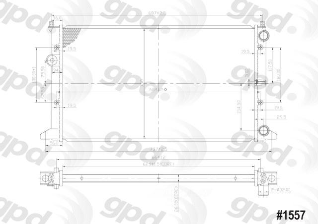 GLOBAL PARTS - Radiator - GBP 1557C