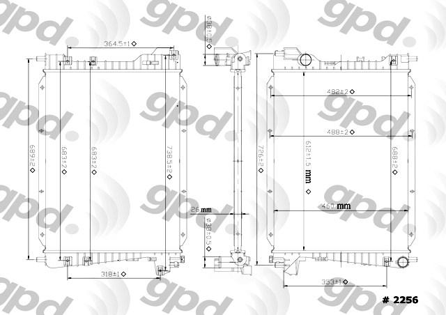 GLOBAL PARTS - Radiator - GBP 2256C