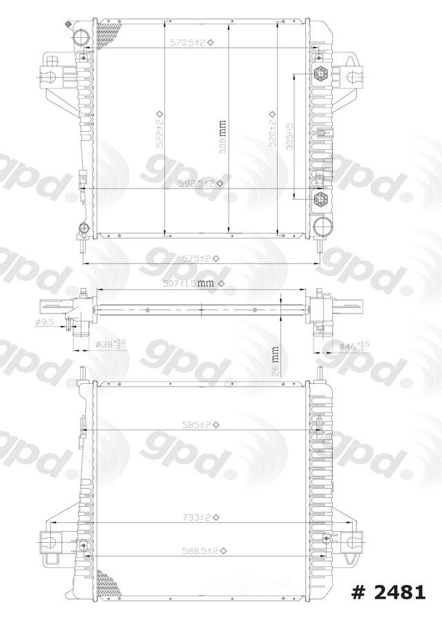 GLOBAL PARTS - Radiator - GBP 2481C
